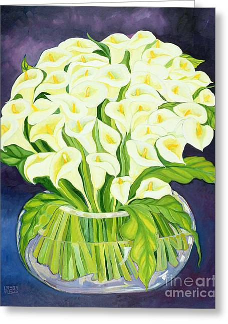 Naive Art Greeting Cards - Calla Lilies Greeting Card by Laila Shawa