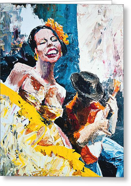 Biracial Art Greeting Cards - Calypso in Yellow Greeting Card by Allen Zimmerman