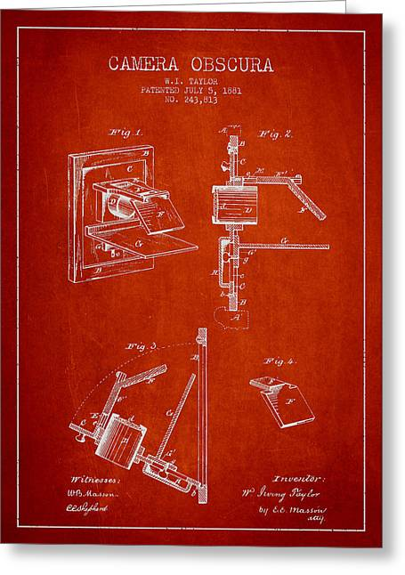 Camera Greeting Cards - Camera Obscura Patent Drawing From 1881 Greeting Card by Aged Pixel