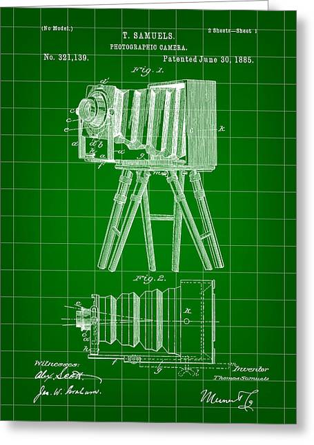 Camera Patent 1885 - Green Greeting Card by Stephen Younts
