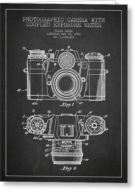 Famous Photographers Digital Greeting Cards - Camera Patent Drawing From 1962 Greeting Card by Aged Pixel