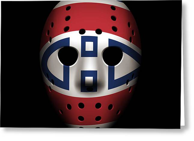 Canadiens Goalie Mask Greeting Card by Joe Hamilton