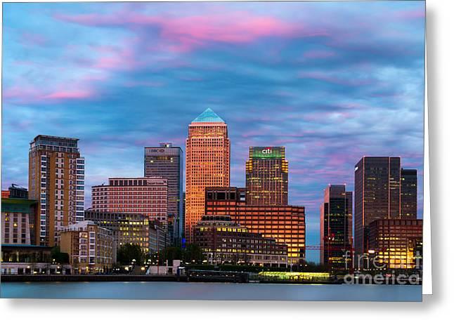 Canary Wharf Skyline In London England Greeting Card by Bill Cobb