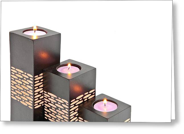 Burning Greeting Cards - Candle holders Greeting Card by Tom Gowanlock