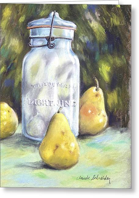 Canned Pears  Greeting Card by Claude Schneider