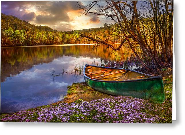 Canoe Waterfall Greeting Cards - Canoe at the Lake Greeting Card by Debra and Dave Vanderlaan