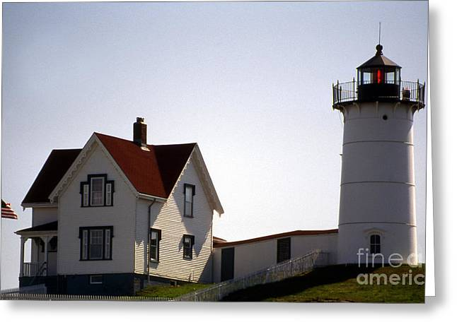 Maine Lighthouses Greeting Cards - Cape Neddick Lighthouse Greeting Card by Skip Willits