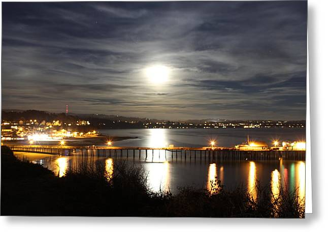Santa Cruz Wharf Greeting Cards - Capitola Moonscape Greeting Card by Deana Glenz
