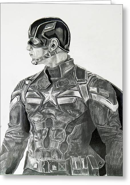 Chris Evan Greeting Cards - Captain America Greeting Card by Robert Link