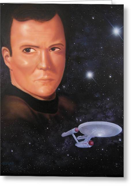 Best Sellers -  - Enterprise Paintings Greeting Cards - Captain Kirk Greeting Card by Ethan  Foxx
