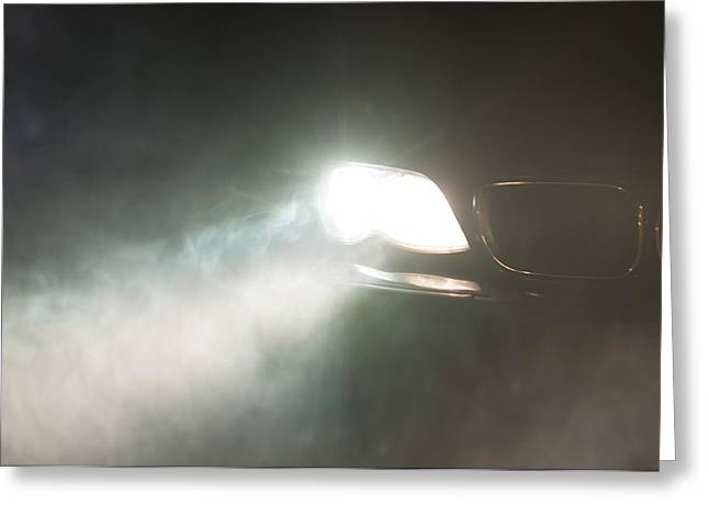 Haze Pyrography Greeting Cards - Car Headlights of a car Greeting Card by Oliver Sved