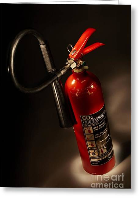 Carbon Dioxide Photographs Greeting Cards - Carbon Dioxide Fire Extinguisher Greeting Card by Mark Sykes