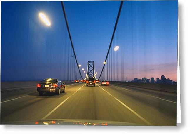 San Francisco Bay Greeting Cards - Cars On A Suspension Bridge, Bay Greeting Card by Panoramic Images