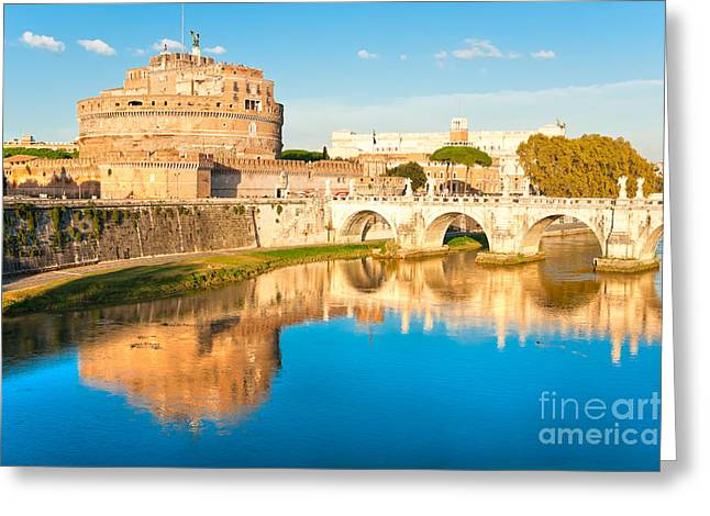 Historic Site Greeting Cards - Castel SantAngelo . Rome Greeting Card by Luciano Mortula