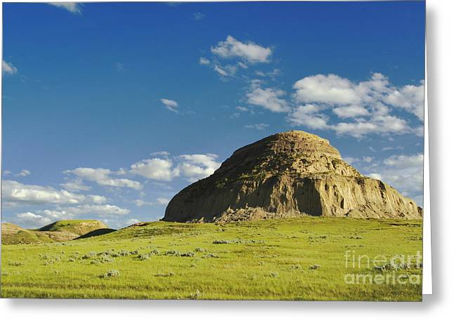 Blue Mudstone Greeting Cards - Castle Butte Greeting Card by Charline Xia