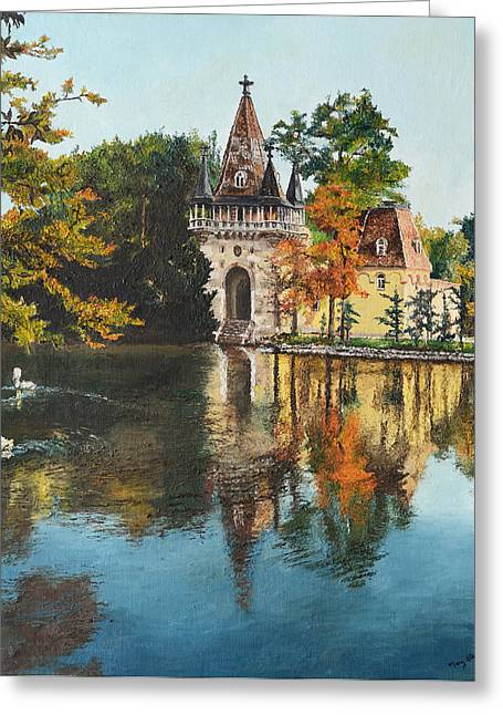 Swan Fantasy Art Greeting Cards - Castle on the Water Greeting Card by Mary Ellen Anderson