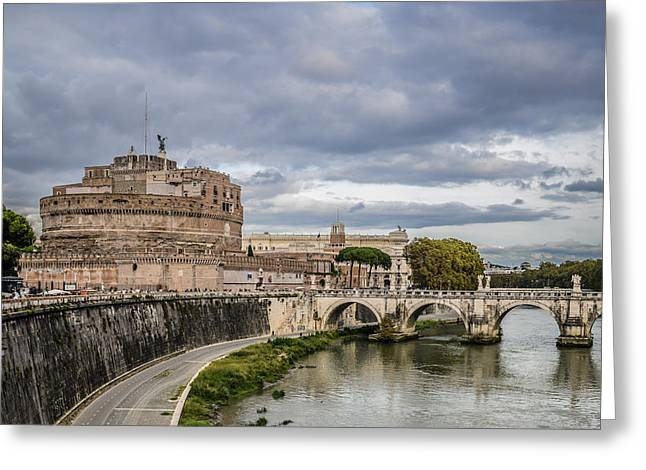Castle St Angelo In Rome Italy Greeting Card by Brandon Bourdages