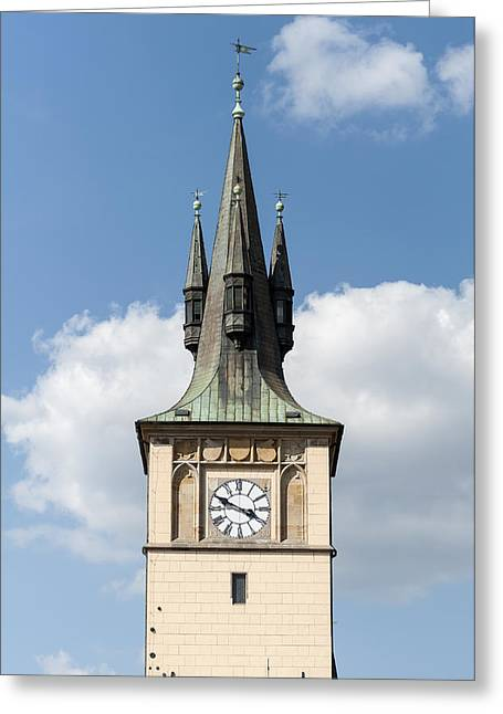 Medieval Clock Greeting Cards - Castle tower. Greeting Card by Fernando Barozza