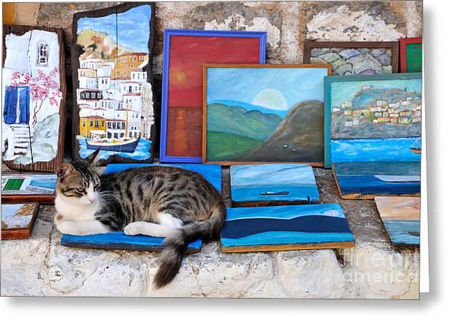 Artist Cat Greeting Card by George Atsametakis