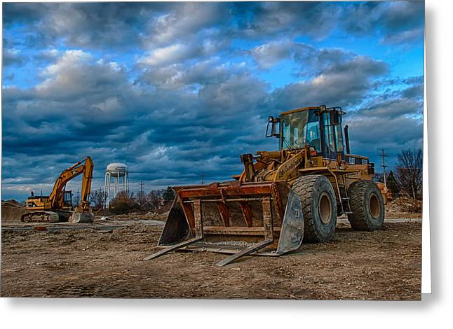 Bulldozer Greeting Cards - Cat Bulldozer Greeting Card by Mike Burgquist