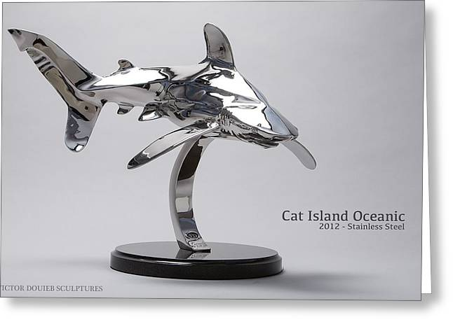 White Shark Sculptures Greeting Cards - Cat Island Oceanic shark Greeting Card by Victor Douieb