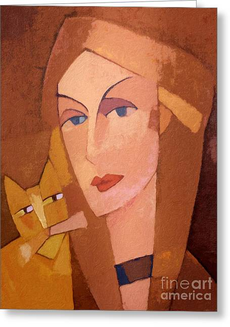 Cat Woman Greeting Cards - Cat Lady Greeting Card by Lutz Baar