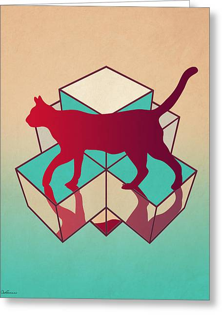 Domestic Digital Greeting Cards - Cat Greeting Card by Mark Ashkenazi