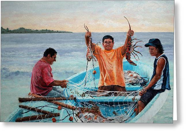 Fishermen Pastels Greeting Cards - Catch of the Day Greeting Card by Lorraine McFarland