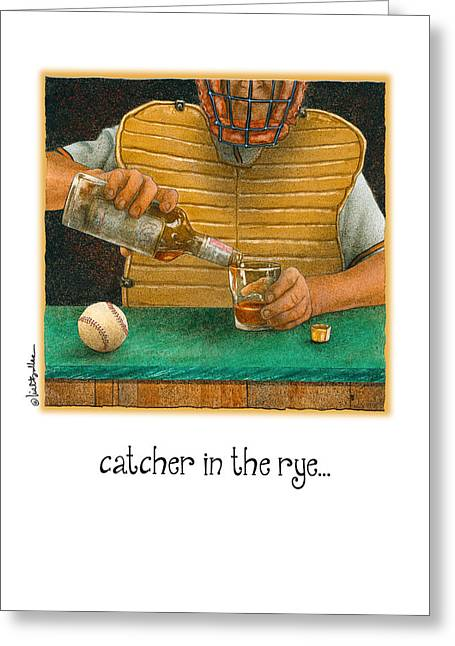 Baseball Paintings Greeting Cards - Catcher In The Rye... Greeting Card by Will Bullas