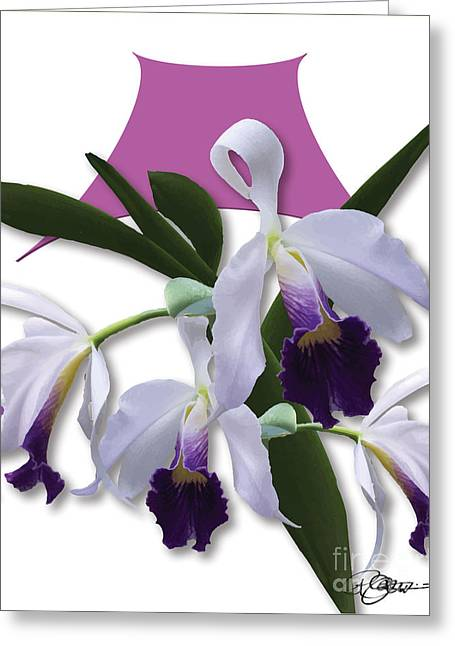 Cattleya Digital Art Greeting Cards - Cattleya Valentine Triage dafoi Art 2 of 3  Greeting Card by Ruth  Benoit