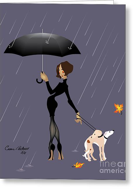 Summer Storm Drawings Greeting Cards - Caught in the Rain Greeting Card by Cesar Pacheco
