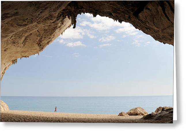 Luna Photographs Greeting Cards - Cave On The Cala Luna Beach, Cala Greeting Card by Panoramic Images