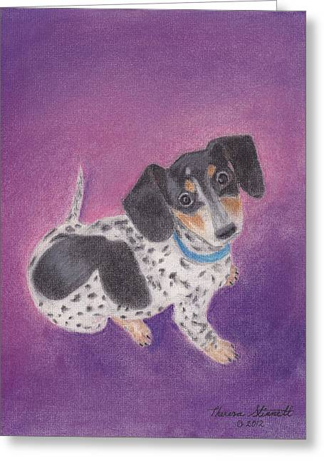 Doggy Pastels Greeting Cards - Cecily Greeting Card by Theresa Stinnett