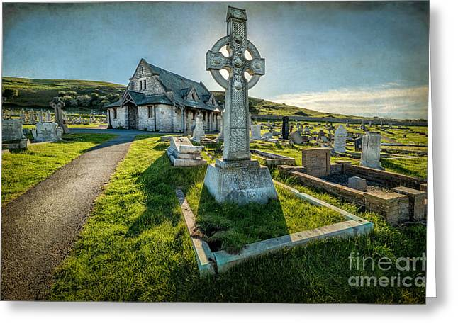 Graveyard Digital Greeting Cards - Celtic Cross Greeting Card by Adrian Evans