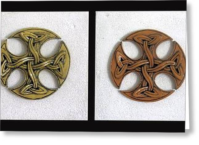 Outsider Art Sculptures Greeting Cards - Celtictrado Greeting Card by Flow Fitzgerald