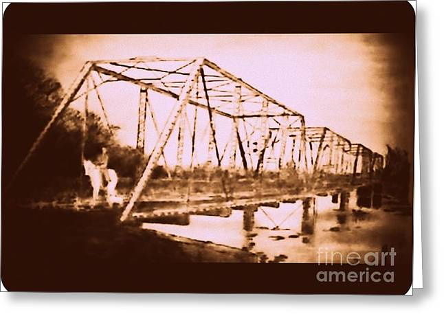 Mix Medium Paintings Greeting Cards - Cemetary Bridge Greeting Card by Mark Herman