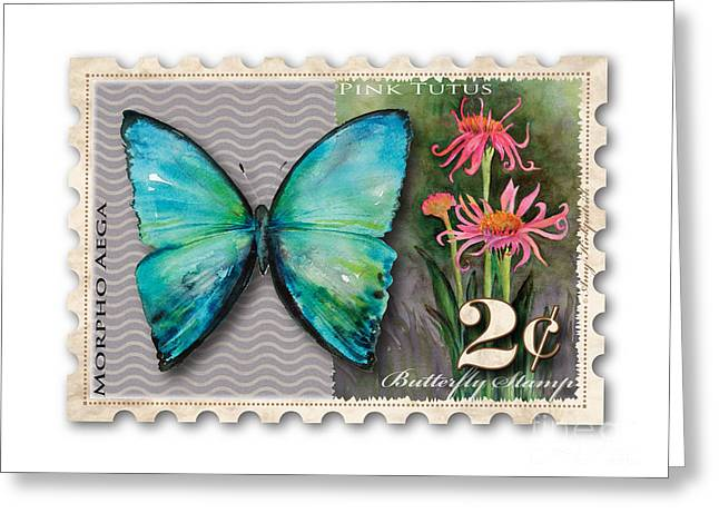 Cone Flowers Greeting Cards - 2 Cent Butterfly Stamp Greeting Card by Amy Kirkpatrick