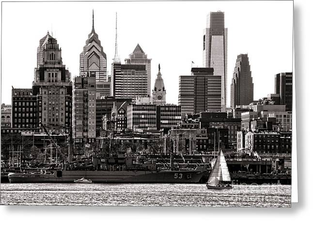 Grapple Greeting Cards - Center City Philadelphia Greeting Card by Olivier Le Queinec