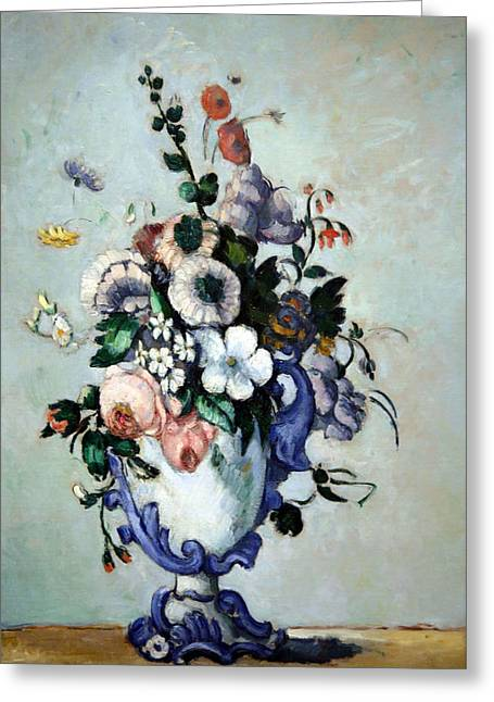 Cora Wandel Greeting Cards - Cezannes Flowers In A Rococo Vase Greeting Card by Cora Wandel