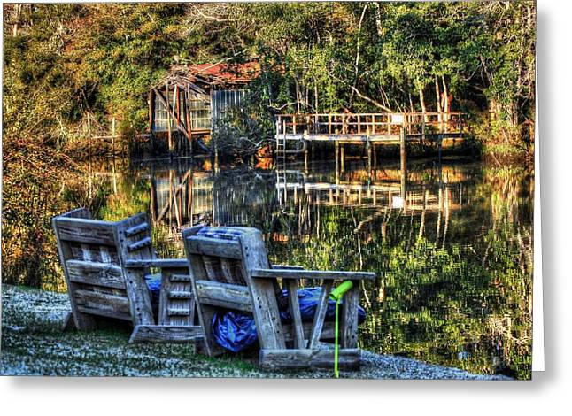Crimson Tide Digital Art Greeting Cards - 2 Chairs on the Magnolia River Greeting Card by Michael Thomas