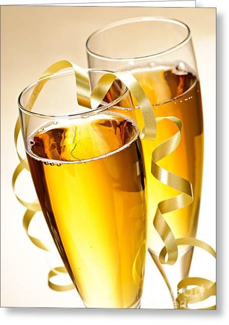 Toast Photographs Greeting Cards - Champagne glasses Greeting Card by Elena Elisseeva
