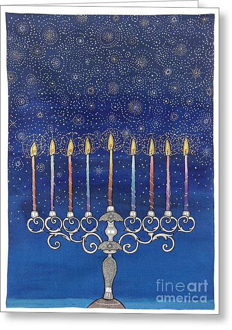 Biblical Tapestries - Textiles Greeting Cards - Chanukiah Greeting Card by  Carol Racklin-Siegel