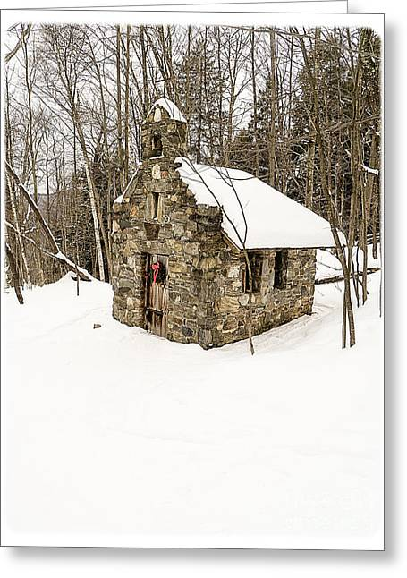 Skiing Christmas Cards Greeting Cards - Chapel in the Woods Stowe Vermont Greeting Card by Edward Fielding
