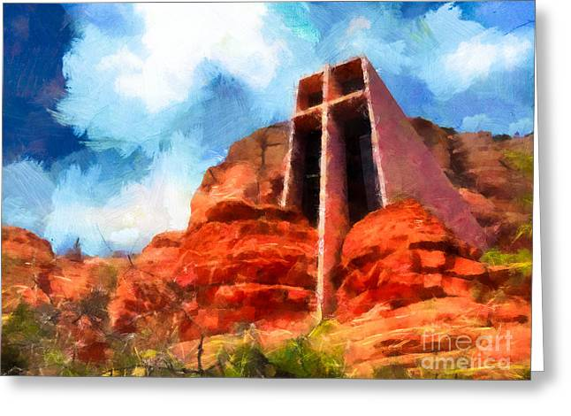 Wonders Of Nature Greeting Cards - Chapel of the Holy Cross Sedona Arizona Red Rocks Greeting Card by Amy Cicconi