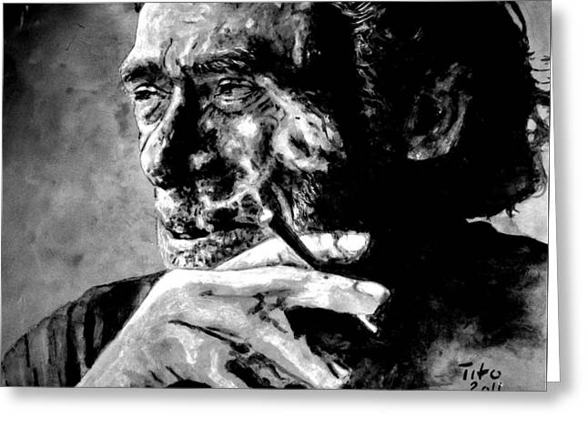 Chinaski Greeting Cards - Charles Bukowski Greeting Card by Richard Tito