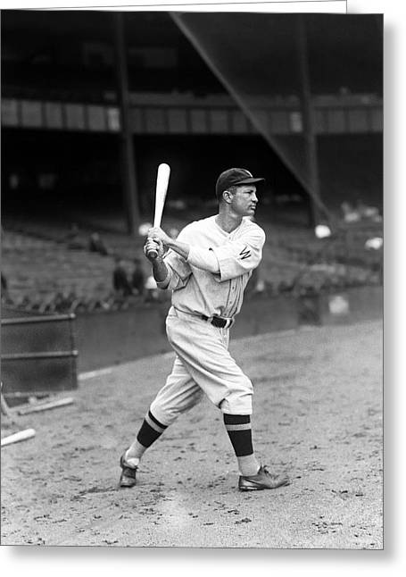 Baseball Bat Greeting Cards - Charles S. Buddy Myer Greeting Card by Retro Images Archive