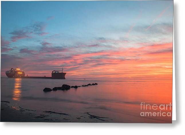 Davit Greeting Cards - Charleston Harbor Sunset Greeting Card by Dale Powell