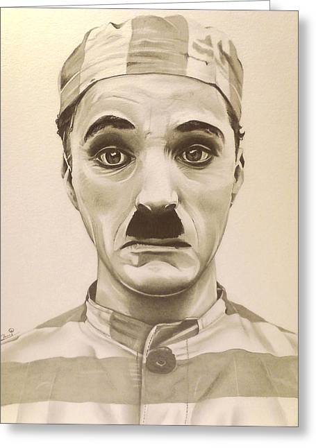 Sir Charles Greeting Cards - Vintage Charlie Chaplin Greeting Card by Fred Larucci