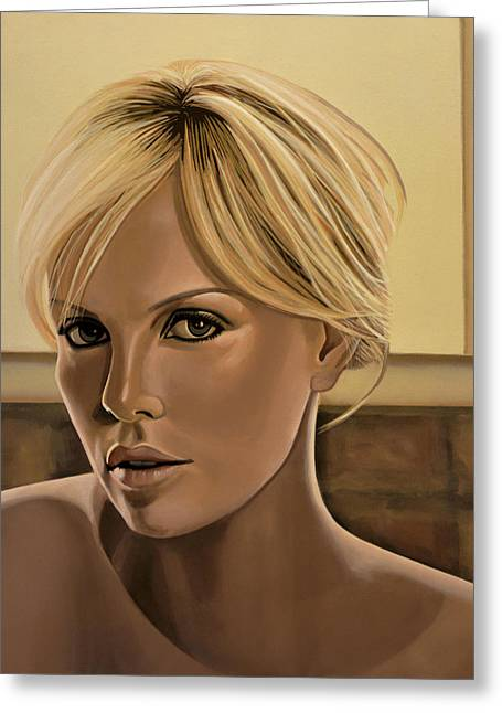 Burning Greeting Cards - Charlize Theron Greeting Card by Paul  Meijering