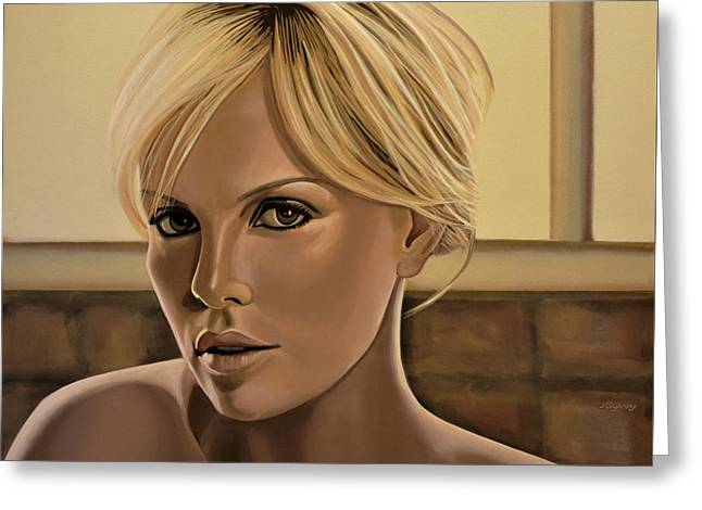 Realistic Greeting Cards - Charlize Theron Greeting Card by Paul Meijering